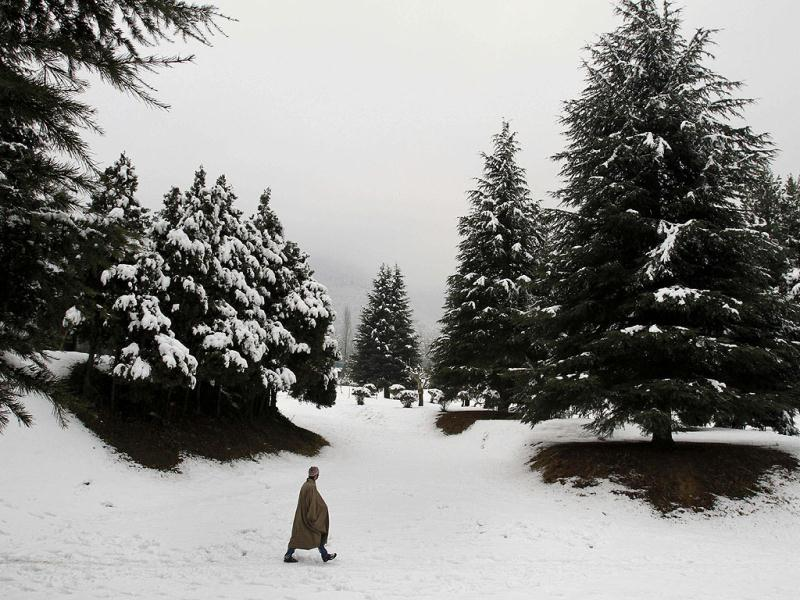 A man walks on a snow covered field on the outskirts of Srinagar. AP Photo/Mukhtar Khan
