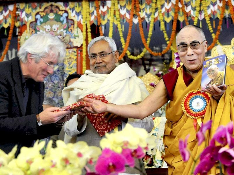 Richard Gere along with Chief Minister Nitish Kumar was present at the podium while Dalai Lama released the book Ethics For Whole World.