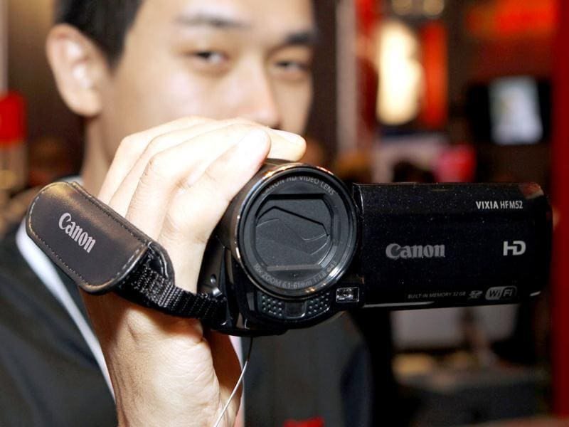 Canon displayed their recently released Vixia HFM52 video camera at the 2012 International Consumer Electronics Show at the Las Vegas Convention Center in Las Vegas, Nevada. AFP