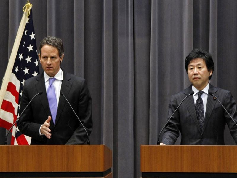 US Treasury Secretary Timothy Geithner speaks as his Japanese counterpart Jun Azumi listens during a joint press conference in Tokyo. AP
