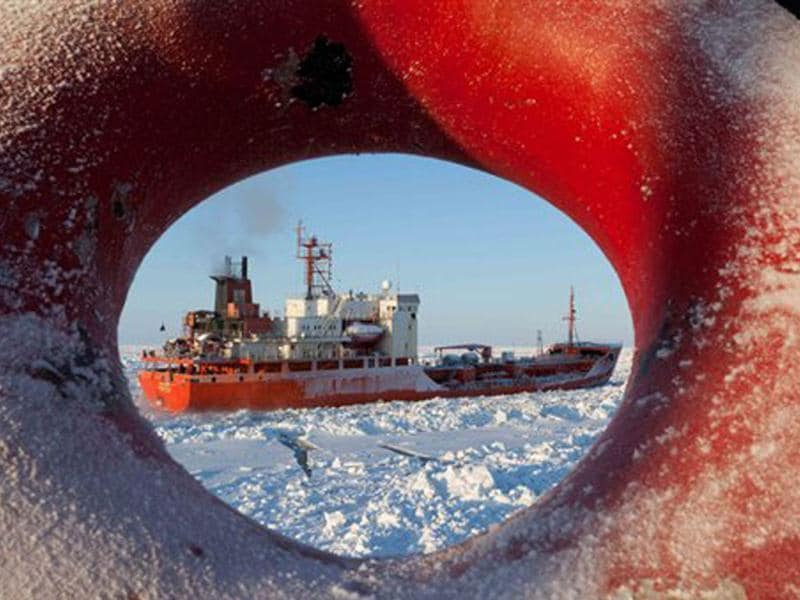 In this image provided by the US Coast Guard the Russian tanker Renda transits through the Bering Sea with the Coast Guard Cutter Healy's assistance. The Renda is carrying 1.3 million gallons of petroleum products for delivery to Nome. AP photo