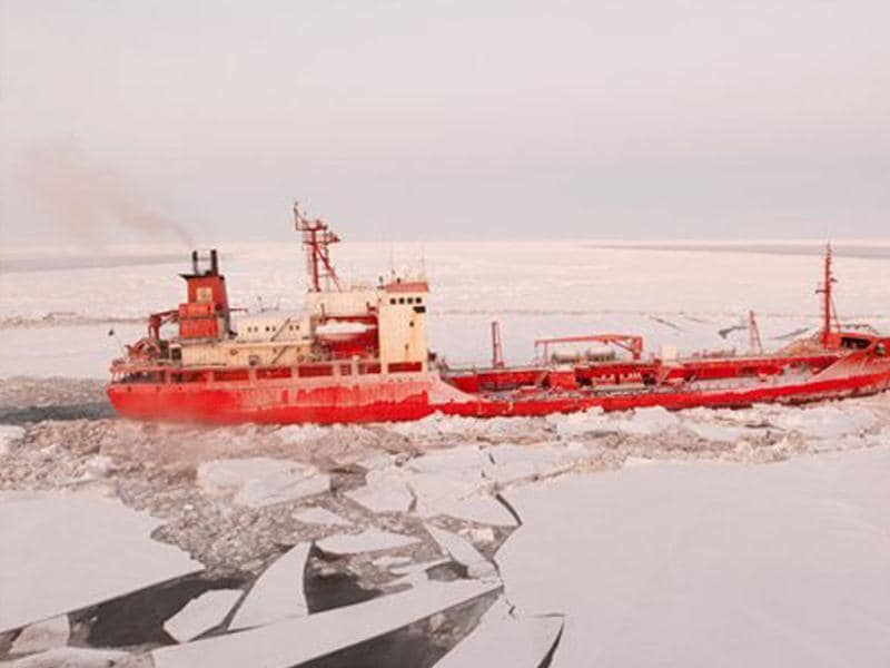 In this image provided by the US Coast Guard the Russian tanker Renda transits through broken Bering Sea ice. The Coast Guard Cutter Healy is breaking ice and escorting the Renda to the remote village of Nome to deliver 1.3 million gallons of petroleum products to Nome residents. The delivery, which if successful would mark the first time petroleum products have been delivered by sea to a Western Alaska community in winter. AP photo