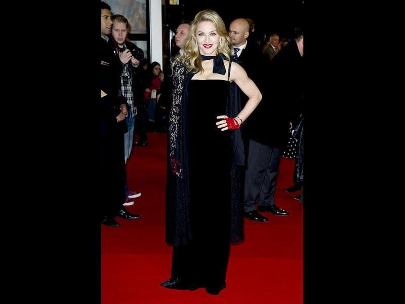 Madonna looks stunning in an all-black ensemble at the premiere.