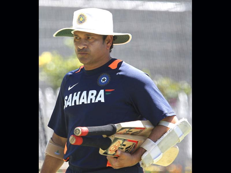 Sachin Tendulkar during a training session at the WACA in Perth, Australia. Australia will play India in the third test starting on Friday. (AP Photo)