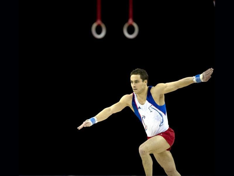 Gael da Silva of France competes during the Men's Floor Final during the Artistic International Gymnastics London 2012 Olympic qualifier, a part of the London Prepares series of test events, at the North Greenwich Arena in London. (AFP Photo)