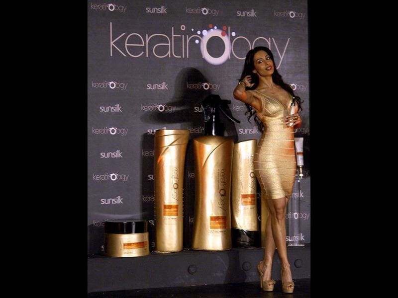 Malaika Arora Khan at the launch of premium hair care range Keratinology by Sunsilk, in Mumbai on Jan 12.