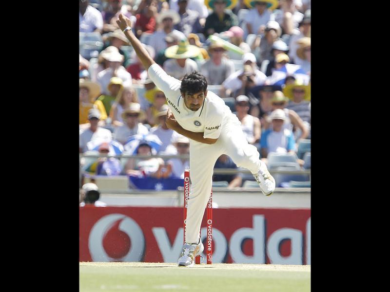 Zaheer Khan bowls against David Warner on the second day of their cricket test match at the WACA in Perth. AP photo