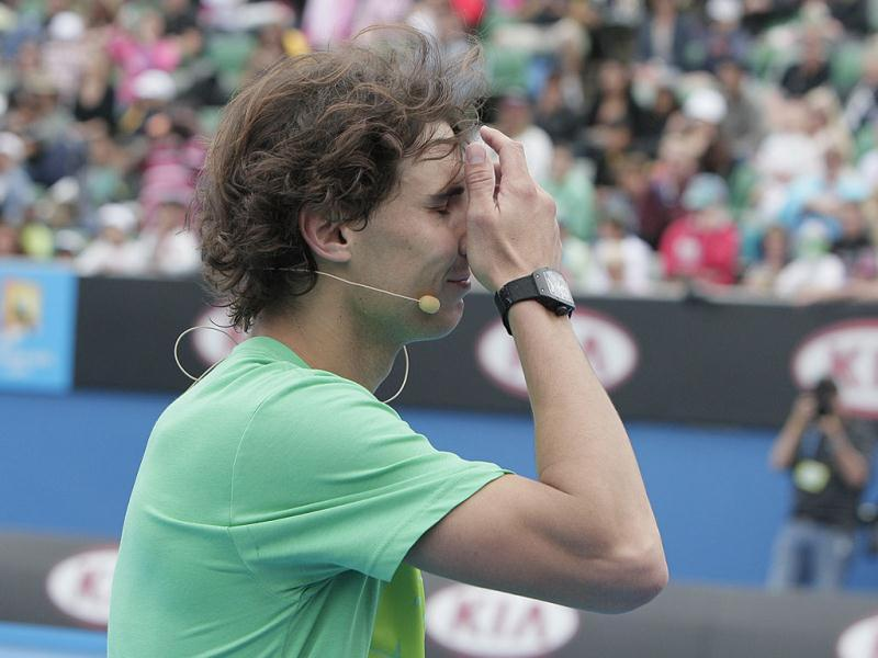 Spain's Rafael Nadal reacts during an exhibition match at the Australian Open tennis championship in Melbourne, Australia. AP photo/Mark Baker