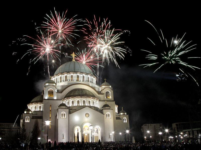 Fireworks illuminate the sky over St. Sava temple in downtown Belgrade, Serbia. Orthodox Christians in Serbia celebrate New Year on Jan. 14, according to the Julian calendar. AP photo/Darko Vojinovic