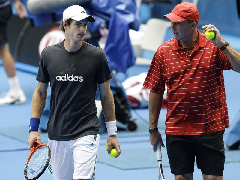 Britain's Andy Murray walks with his coach Ivan Lendl during a practice session at the Australian Open tennis championship in Melbourne, Australia. AP