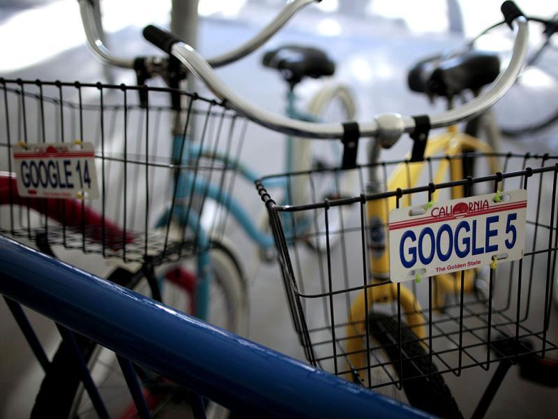 Bicycles for use by employees are lined up at the Google campus near Venice Beach, in Los Angeles, California. Reuters