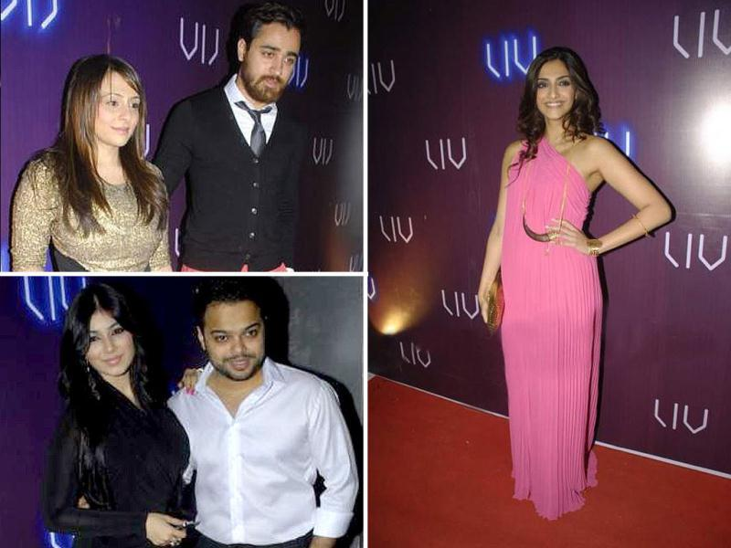 Sonam Kapoor and Imran Khan were among the many stars present at Ayesha Takia's husband Farhan Azmi's club launch. While Sonam looked hot in her gown, Imran Khan raised eyebrows with his pink pants! Take a look.