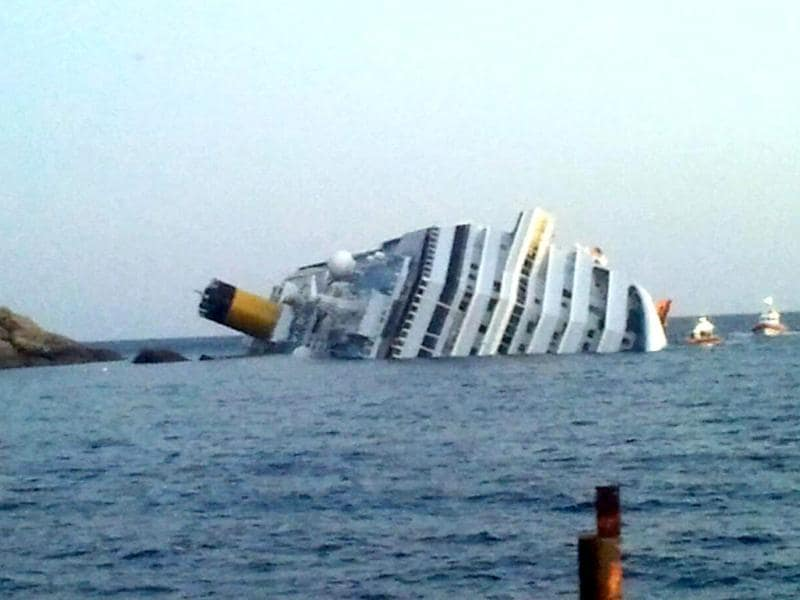 A photograph taken of the Costa Concordia after the cruise ship with more than 4,000 people on board ran aground and keeled over off the Isola del Giglio, and Italian island. (AFP Photo)