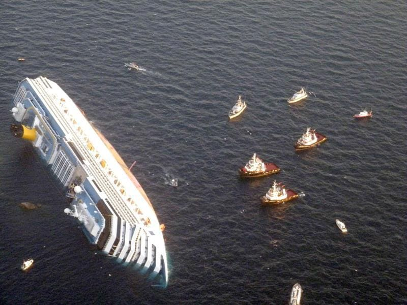 Costa Concordia cruise ship that ran aground is seen off the west coast of Italy at Giglio island.(Reuters/Italian Guardia di Finanza)