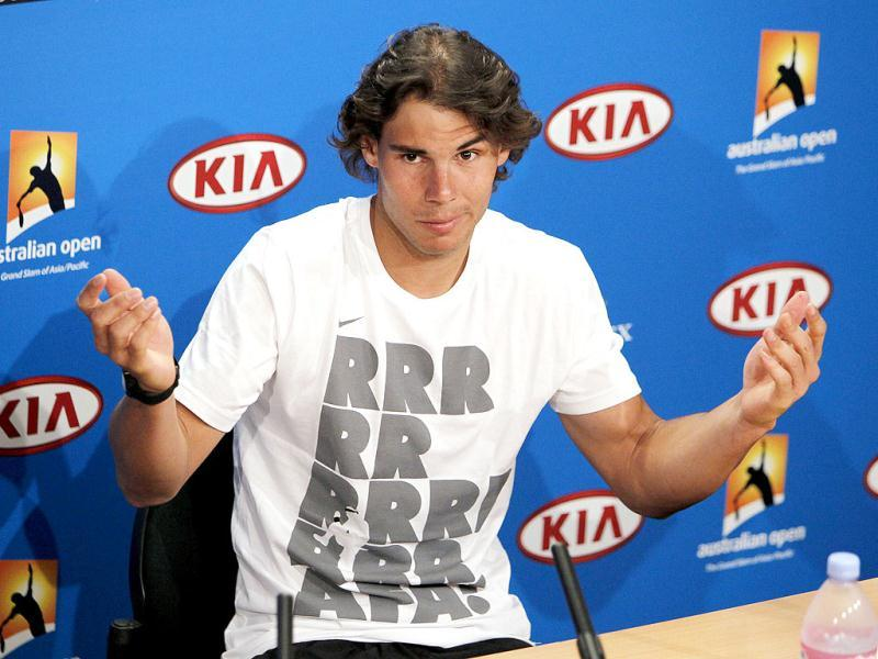 Spain's Rafael Nadal gestures during a press conference at the Australian Open tennis championship in Melbourne, Australia. AP