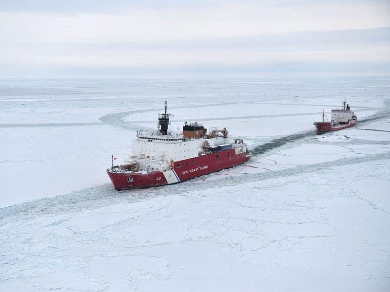 The Coast Guard Cutter Healy, the services only operational icebreaker, leads the 370-foot Russian tanker Renda closer to Nome, Alaska. Reuters