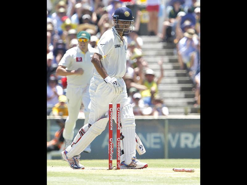 Rahul Dravid walks back to the pavilion after being dismissed for 47 against Australia on the third day of their cricket Test match at the WACA in Perth. AP photo