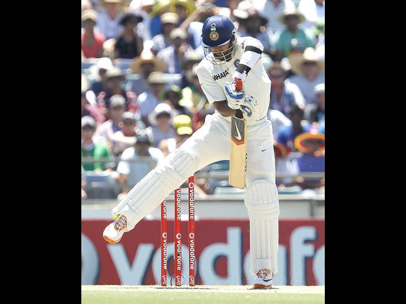 Vinay Kumar plays a stroke against Australia on the third day of their cricket Test match at the WACA in Perth. AP photo