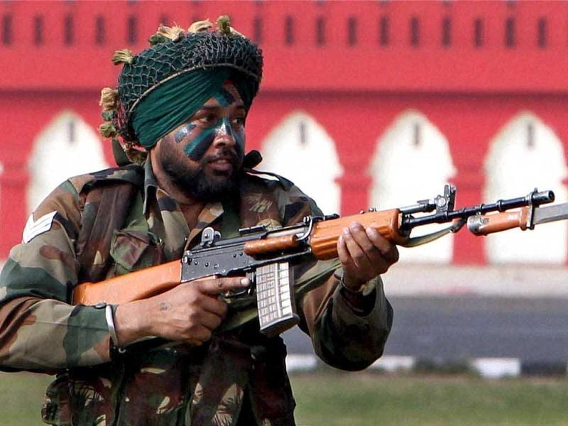 An army jawan during the Army Day parade at Delhi Cantt in New Delhi. PTI Photo/Atul Yadav.