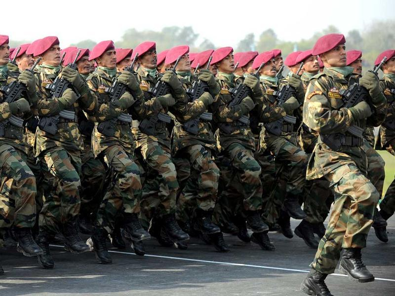 Special Forces soldiers march during the Army Day parade in New Delhi. AFP Photo/Sajjad Hussain.