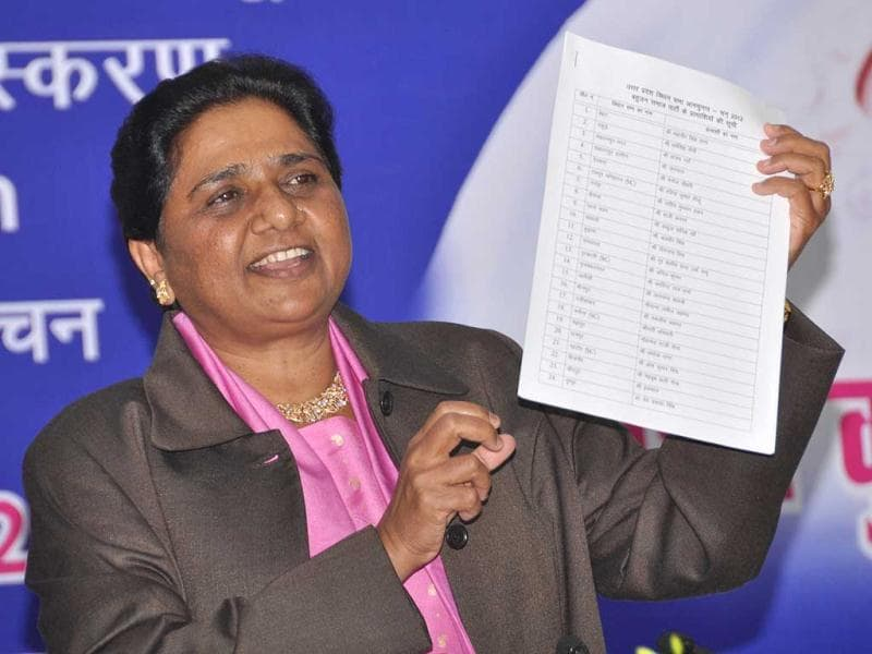 UP chief minister Mayawati releasing the list of BSP candidates on her 56th birthday at the party office in Lucknow. HT Photo/Ashok Dutta