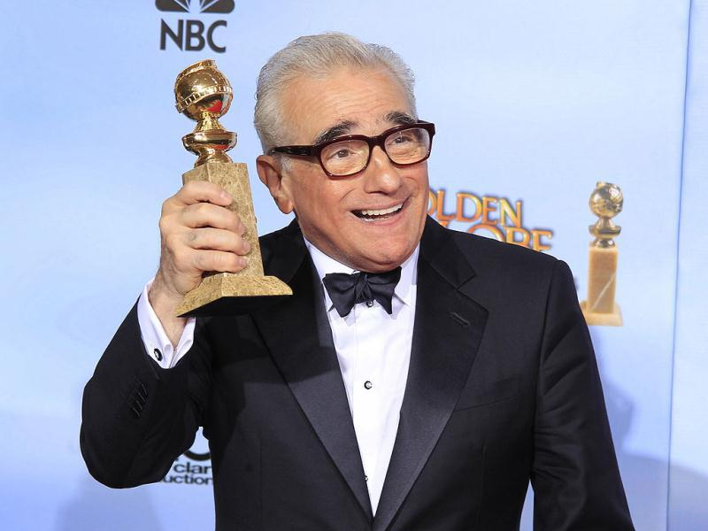 Martin Scorsese, winner of best director for his film Hugo poses backstage at the 69th annual Golden Globe Awards in Beverly Hills, California. Reuters