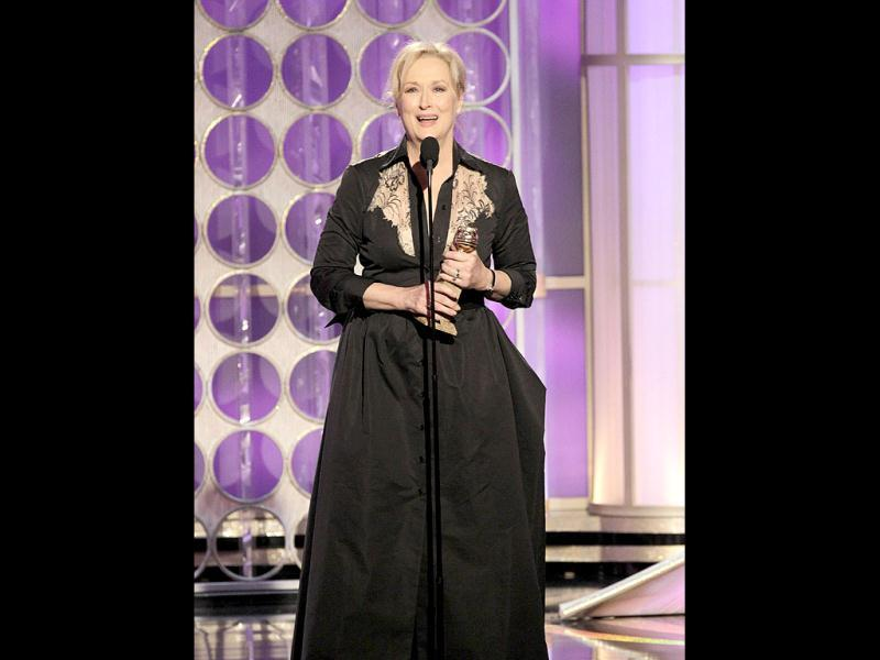Meryl Streep accepts her award for best actress in a drama motion picture for Iron Lady at the 69th Golden Globe Awards in Beverly Hills, California. Reuters