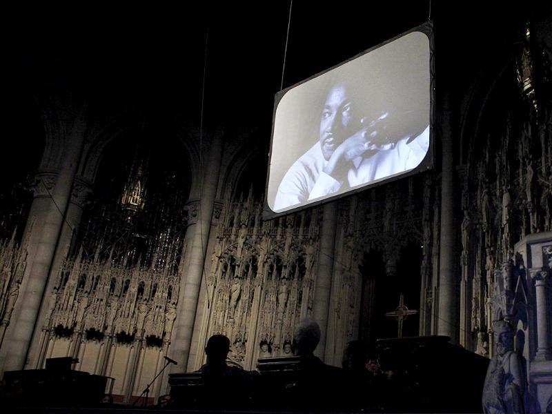 Rev. Martin Luther King, Jr. is pictured on a screen during a candlelight vigil honoring him at the Riverside Church in New York.(Reuters)