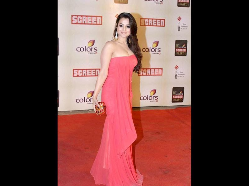 Amisha Patel looked pleasant in a carrot-coloured tube gown.