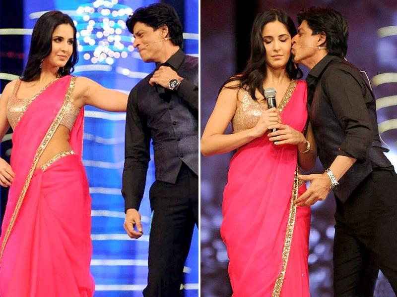SRK performed with Katrina Kaif for the first time and raised eyeballs when he kissed her.