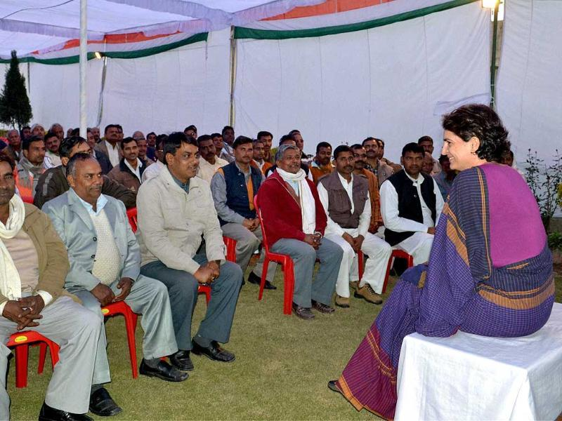 Priyanka Gandhi Vadra interacts with Congress party workers during a meeting in Amethi. PTI Photo