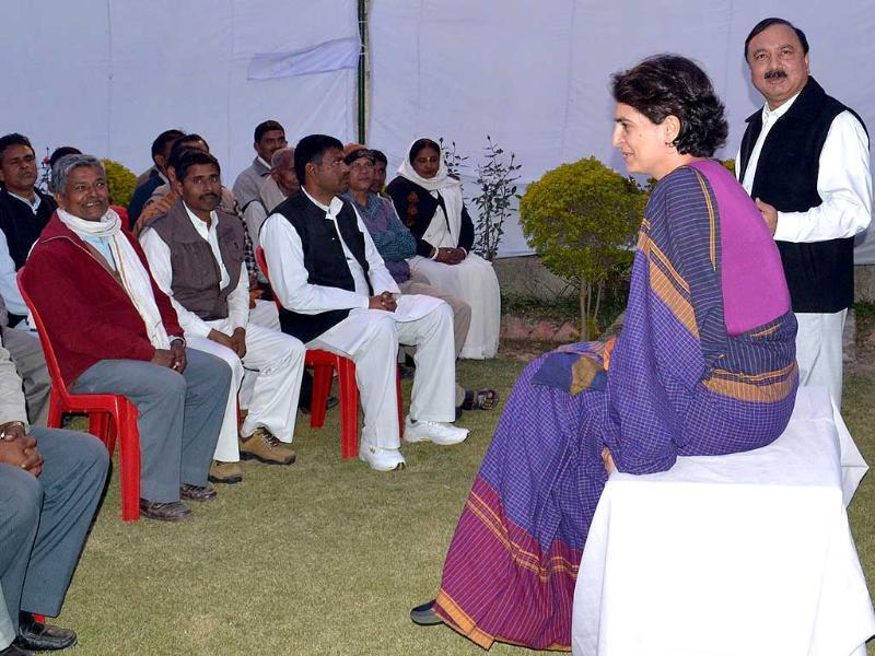 Priyanka Gandhi Vadra meets Congress party workers in Amethi. HT Photo By Sanjeev Verma