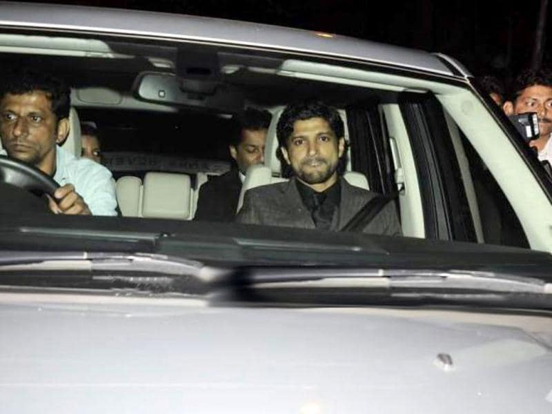 Farhan Akhtar arrives for the party organised for Oprah Winfrey.