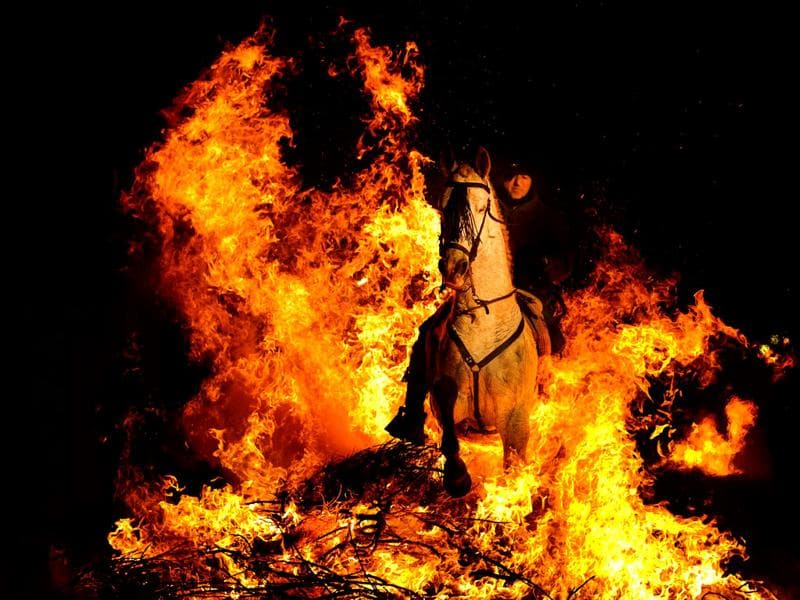 A man rides a horse through a bonfire in San Bartolome de Pinares, Spain, in honor of Saint Anthony, the patron saint of animals. On the eve of Saint Anthony's Day, hundreds ride their horses trough the narrow cobblestone streets of the small village of San Bartolome during the