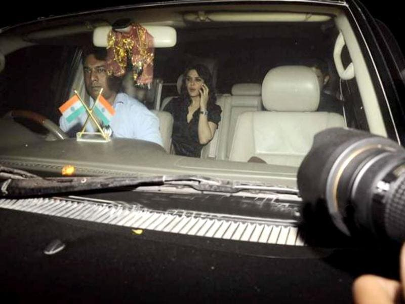 Preity Zinta arrives in her car.