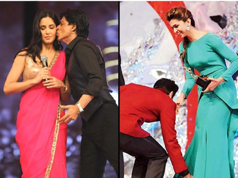 Ranbir Kapoor took all by surprise by touching Deepika Padukone's feet. SRK raised eyebrows by kissing Katrina Kaif. Check out these and other err.. interesting montages from the 18th Annual Colors Screen Awards diary.