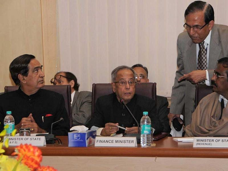 Union finance minister Pranab Mukherjee with MoS Namo Naryan Meena and S S Palamanikam at the pre-Budget consultations with Social Sector related Groups in New Delhi.