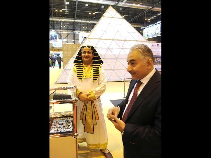 View of the Egyptian stand during the inauguration of the International Tourism Trade Fair (FITUR) in Madrid. AFP photo