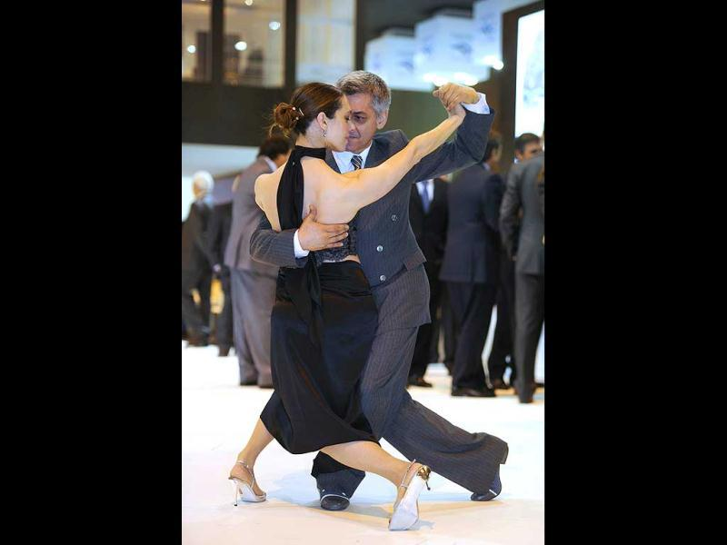 Tango dancers perform at the Argentinian stand during the inauguration of the International Tourism Trade Fair. AFP photo