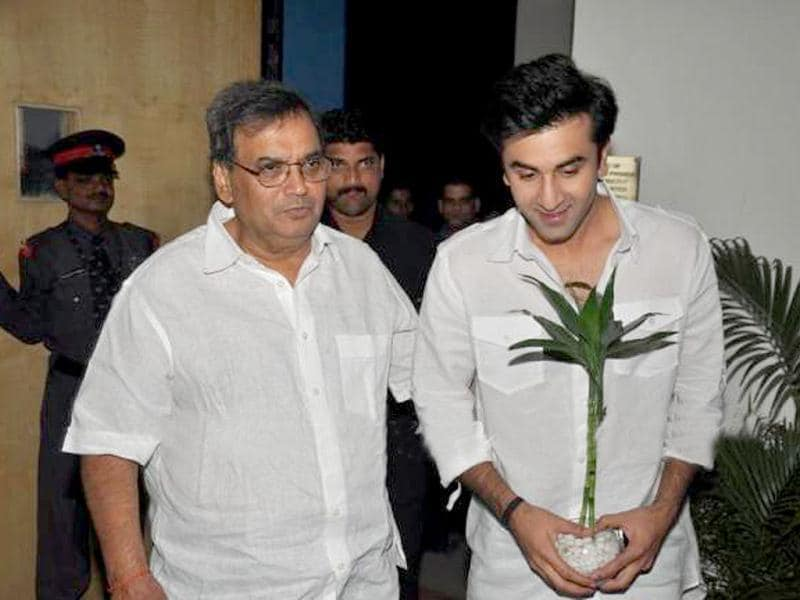 Subhash Ghai, Founder and Chairman of Whistling Woods International film institute posed with Ranbir Kapoor.
