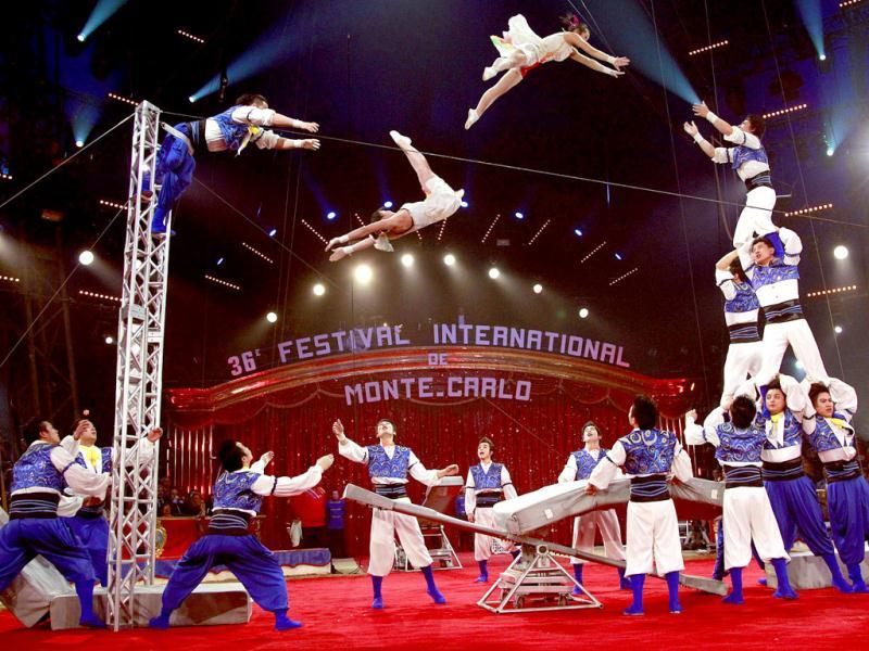 The acrobatic troop of Shanghai performs during the opening ceremony of the 36th International Circus Festival of Monte Carlo in Monaco. AFP Photo/Eric Gaillard, Pool