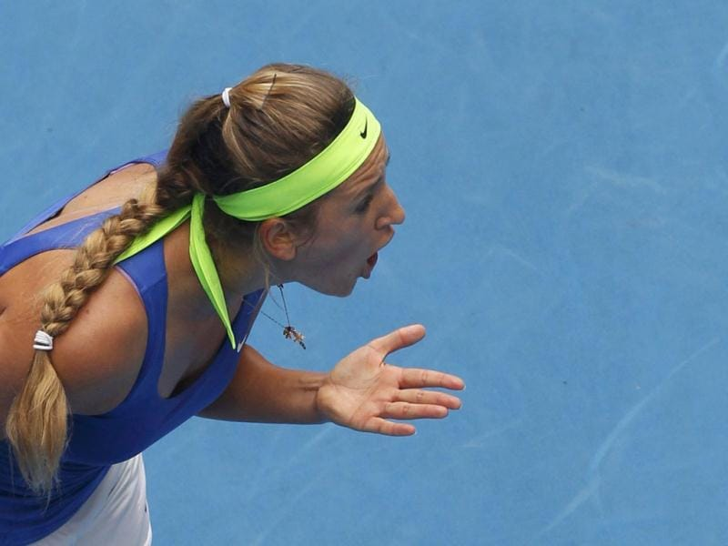 Victoria Azarenka of Belarus argues a line call during her women's singles match against Mona Barthel of Germany at the Australian Open tennis tournament in Melbourne. (Reuters)