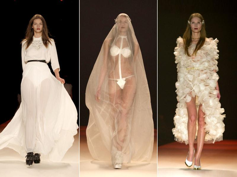 German fashion house Kaviar Gauche raised eyebrows when it revealed a bridal collection at the Berlin Fashion Week with the 'brides' wearing nothing but a bra and thongs. While you wonder how many brides may actually don the outfit, here's a look at the collection.