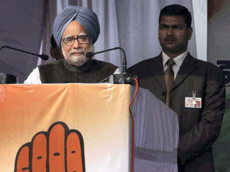 Prime Minister Manmohan Singh addresses a election campaign rally in Rudrapur. PTI