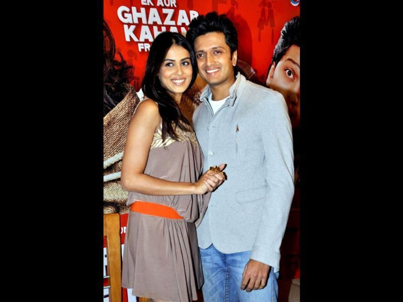 Riteish Deshmukh and Genelia D'Souza who are set to tie the knot in February pose during the music launch of the film Tere Naam Love Ho Gaya.