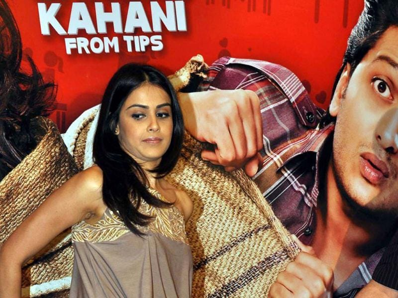 Genelia D'Souza at the music launch of Tere Naam Love Ho Gaya. (AFP)