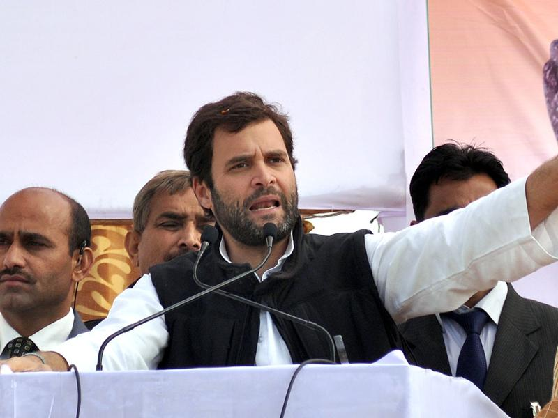 Congress Party general secretary Rahul Gandhi delivers a speech during a public campaign meeting in Bara Village, some 35km from Allahabad. State assembly elections are scheduled in five Indian states and will be held on January 30. AFP Photo