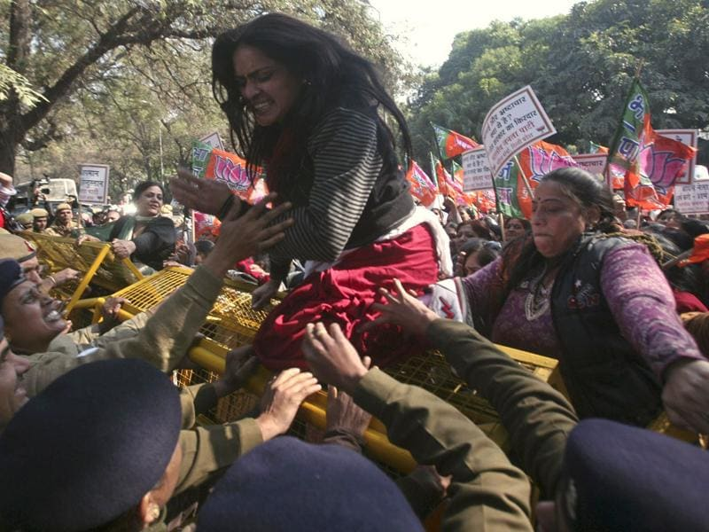 Hundreds of activists on Saturday protested against the alleged remarks made by Rahul Gandhi, a lawmaker and son of Sonia Gandhi against BJP leader Uma Bharti during the ongoing election campaign rallies, according to activists. Reuters/Parivartan Sharma