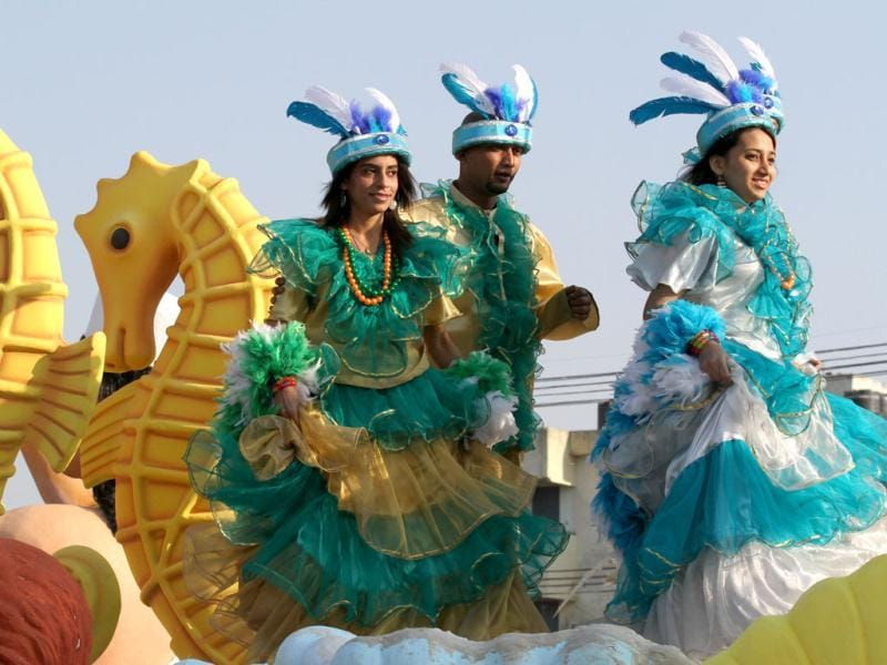 Goa tableaux artists seen during the press preview of tableaux for Republic day parade in New Delhi. HT photo/ Virendra Singh Gosain
