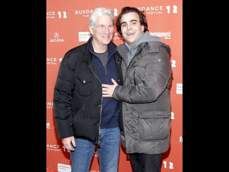 Actor Richard Gere and writer and director Nicholas Jarecki pose at the premiere of